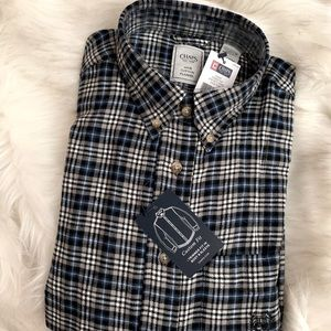 Chaps Plaid Flannel Top in Blue/Grey/White/Black